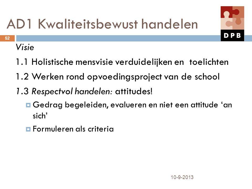 AD1 Kwaliteitsbewust handelen 10-9-2013 52 Visie 1.1 Holistische mensvisie verduidelijken en toelichten 1.2 Werken rond opvoedingsproject van de schoo