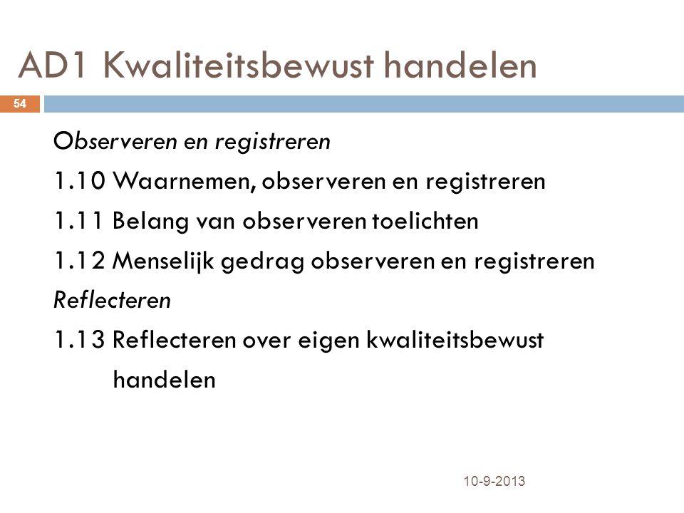 AD1 Kwaliteitsbewust handelen 10-9-2013 54 Observeren en registreren 1.10 Waarnemen, observeren en registreren 1.11 Belang van observeren toelichten 1