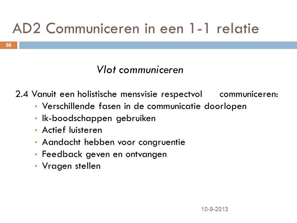 AD2 Communiceren in een 1-1 relatie 10-9-2013 56 Vlot communiceren 2.4 Vanuit een holistische mensvisie respectvol communiceren: Verschillende fasen i