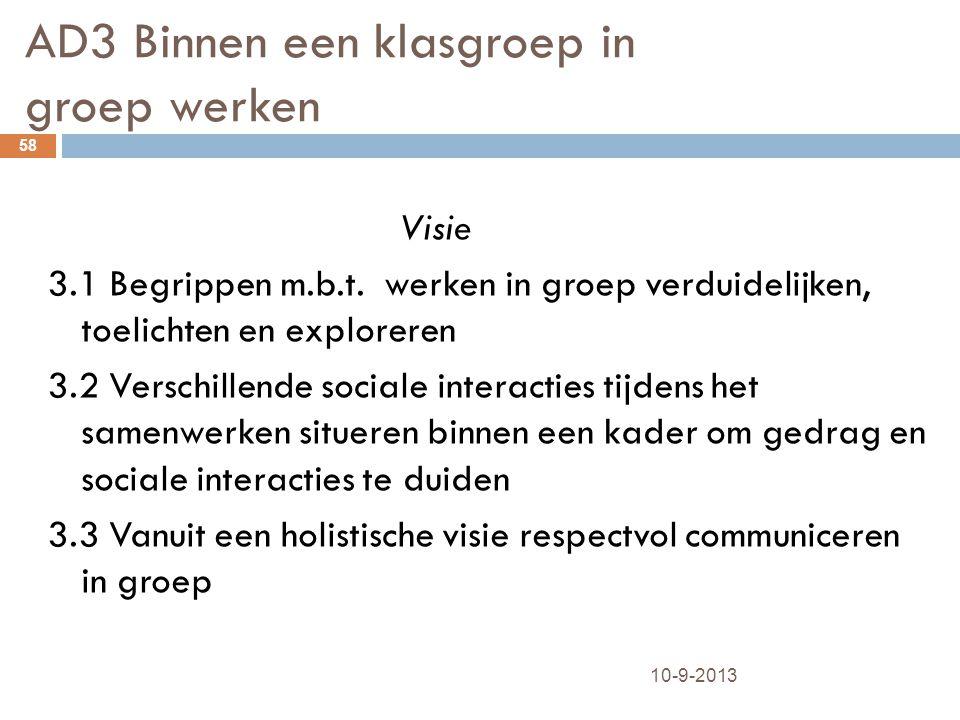 AD3 Binnen een klasgroep in groep werken 10-9-2013 58 Visie 3.1 Begrippen m.b.t. werken in groep verduidelijken, toelichten en exploreren 3.2 Verschil