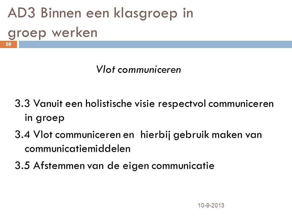 AD3 Binnen een klasgroep in groep werken 10-9-2013 59 Vlot communiceren 3.3 Vanuit een holistische visie respectvol communiceren in groep 3.4 Vlot com