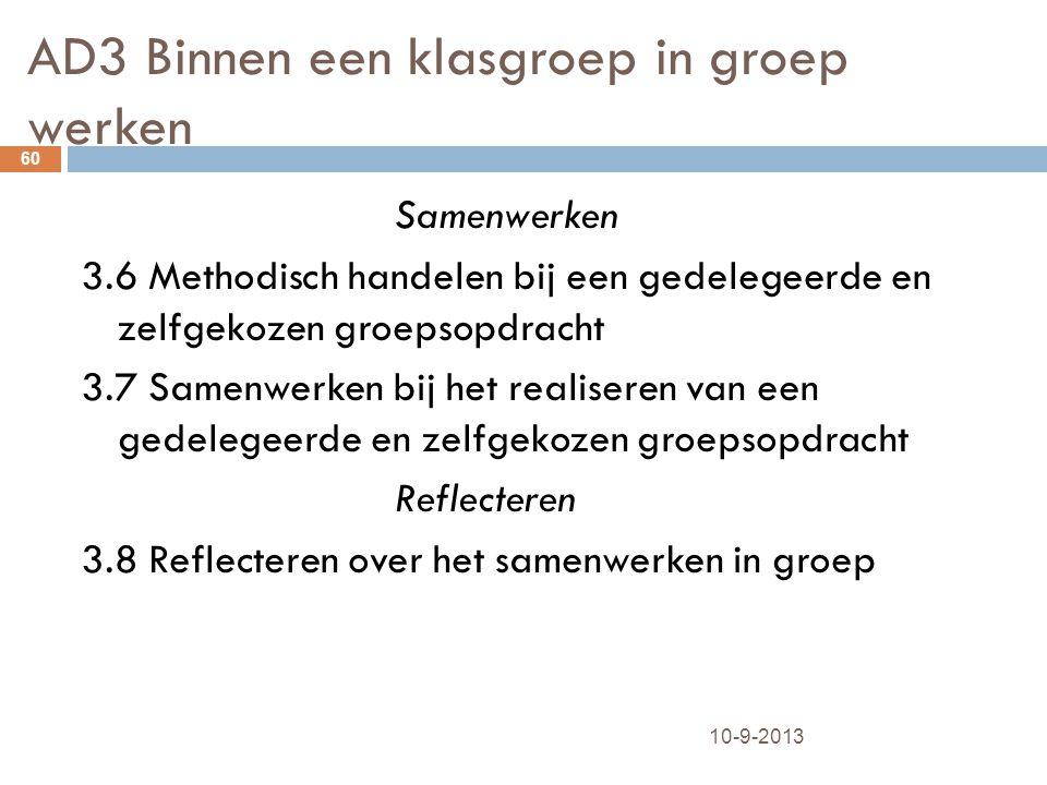 AD3 Binnen een klasgroep in groep werken 10-9-2013 60 Samenwerken 3.6 Methodisch handelen bij een gedelegeerde en zelfgekozen groepsopdracht 3.7 Samen