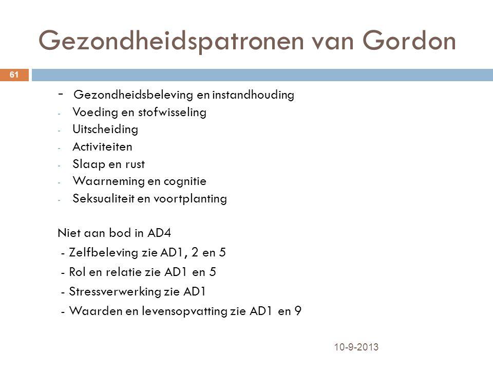 Gezondheidspatronen van Gordon 10-9-2013 61 - Gezondheidsbeleving en instandhouding - Voeding en stofwisseling - Uitscheiding - Activiteiten - Slaap e