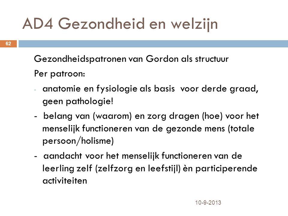 AD4 Gezondheid en welzijn 10-9-2013 62 Gezondheidspatronen van Gordon als structuur Per patroon: - anatomie en fysiologie als basis voor derde graad,