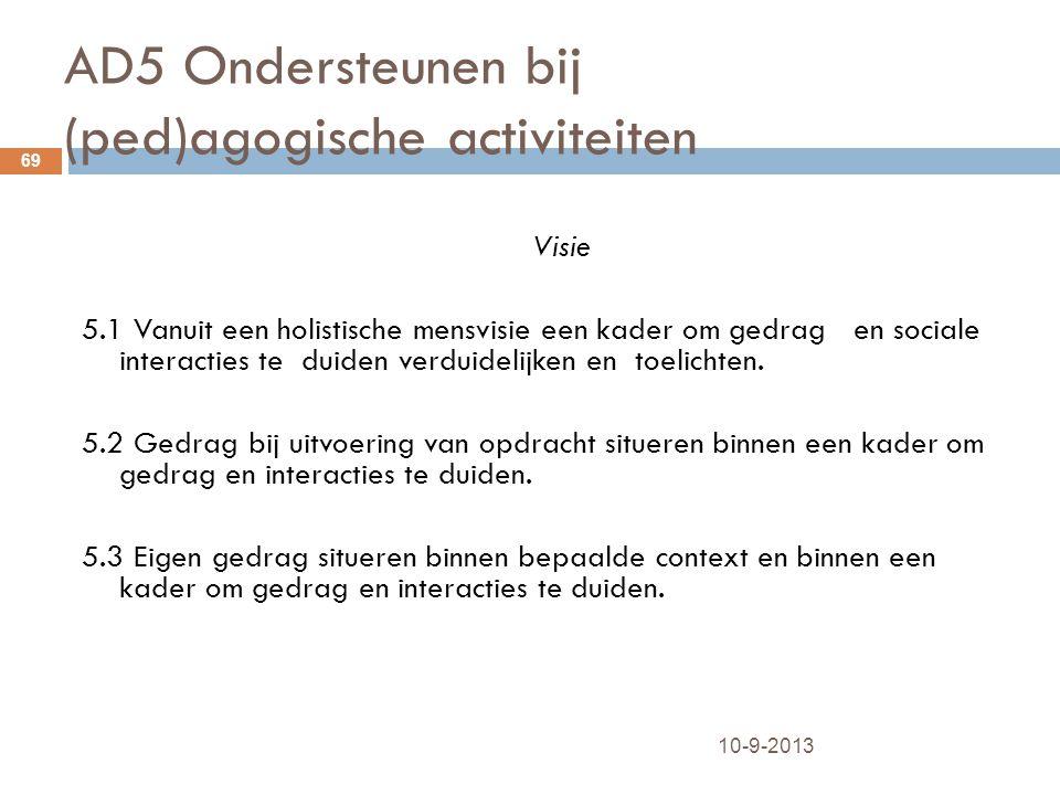 AD5 Ondersteunen bij (ped)agogische activiteiten 10-9-2013 69 Visie 5.1 Vanuit een holistische mensvisie een kader om gedrag en sociale interacties te