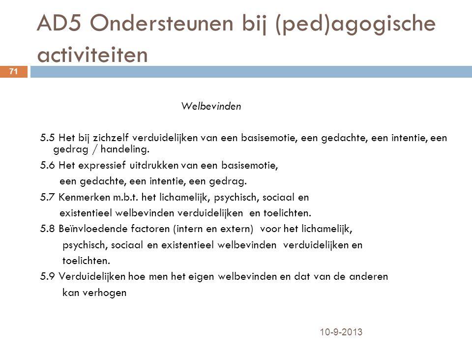 AD5 Ondersteunen bij (ped)agogische activiteiten 10-9-2013 71 Welbevinden 5.5 Het bij zichzelf verduidelijken van een basisemotie, een gedachte, een i