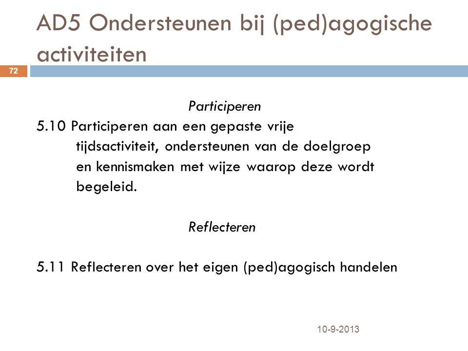 AD5 Ondersteunen bij (ped)agogische activiteiten 10-9-2013 72 Participeren 5.10 Participeren aan een gepaste vrije tijdsactiviteit, ondersteunen van d