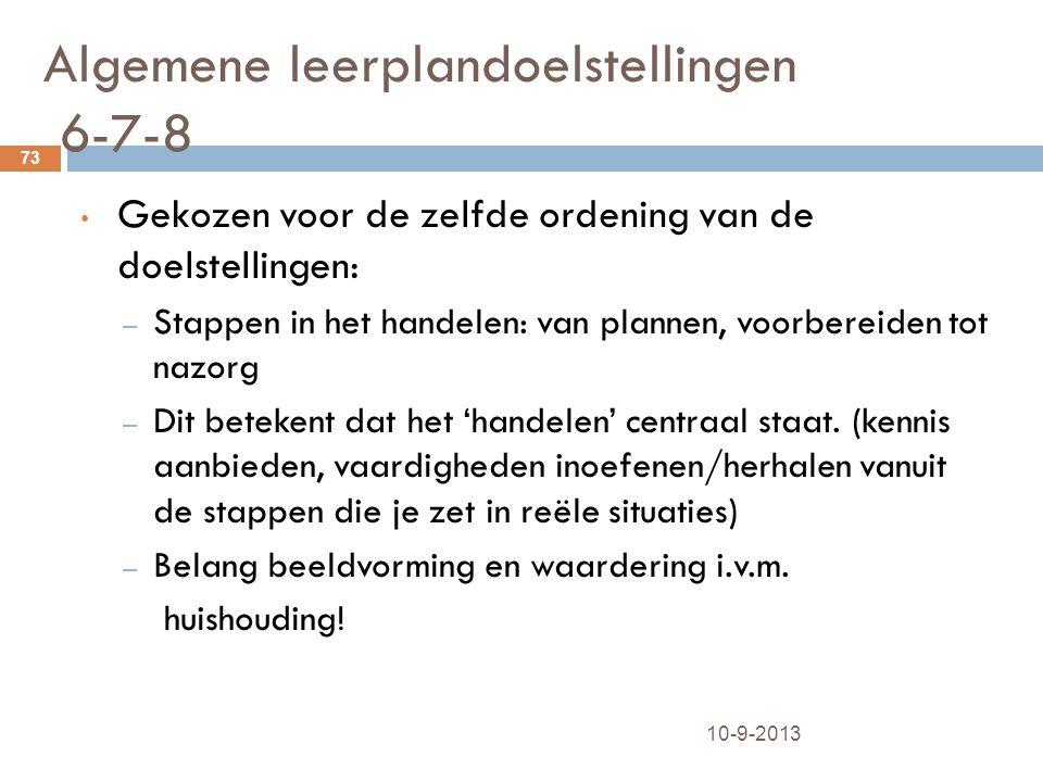 Algemene leerplandoelstellingen 6-7-8 10-9-2013 73 Gekozen voor de zelfde ordening van de doelstellingen: – Stappen in het handelen: van plannen, voor