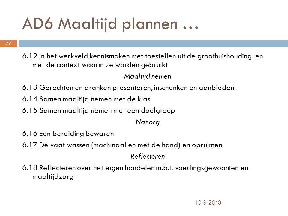 AD6 Maaltijd plannen … 10-9-2013 77 6.12 In het werkveld kennismaken met toestellen uit de groothuishouding en met de context waarin ze worden gebruik