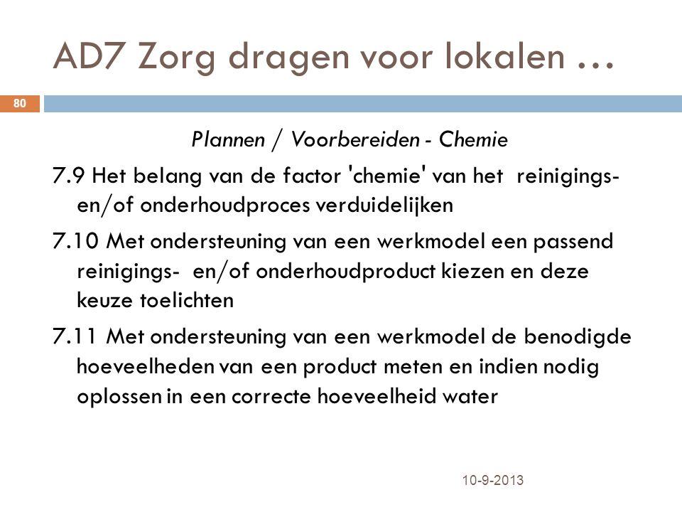 AD7 Zorg dragen voor lokalen … 10-9-2013 80 Plannen / Voorbereiden - Chemie 7.9 Het belang van de factor 'chemie' van het reinigings- en/of onderhoudp