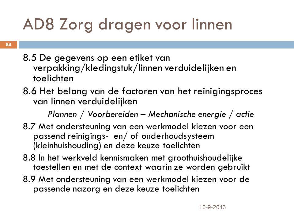 AD8 Zorg dragen voor linnen 10-9-2013 84 8.5 De gegevens op een etiket van verpakking/kledingstuk/linnen verduidelijken en toelichten 8.6 Het belang v