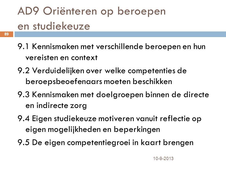 AD9 Oriënteren op beroepen en studiekeuze 10-9-2013 89 9.1 Kennismaken met verschillende beroepen en hun vereisten en context 9.2 Verduidelijken over