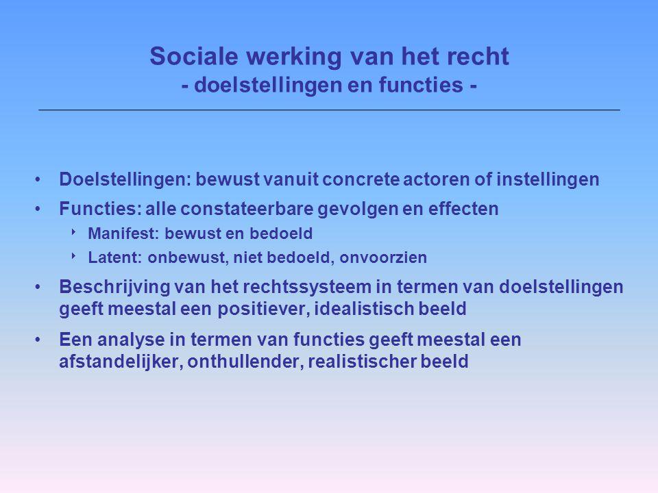 Sociale werking benadering:  Rechtspluralisme  Semi-autonome sociale velden (SASV's) Sociale werking van het recht - doelstellingen en functies -