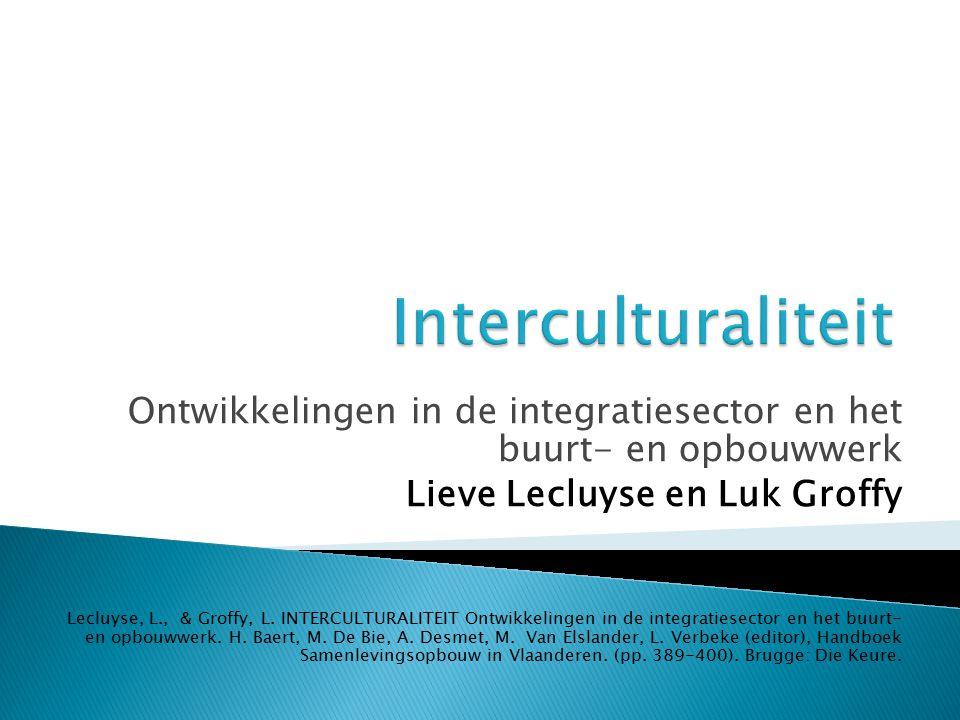 Ontwikkelingen in de integratiesector en het buurt- en opbouwwerk Lieve Lecluyse en Luk Groffy Lecluyse, L., & Groffy, L.