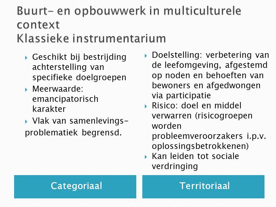 Categoriaal Territoriaal  Geschikt bij bestrijding achterstelling van specifieke doelgroepen  Meerwaarde: emancipatorisch karakter  Vlak van samenlevings- problematiek begrensd.