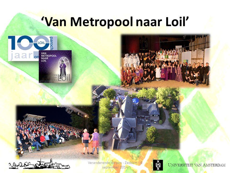 U NIVERSITEIT VAN A MSTERDAM 'Van Metropool naar Loil' Veranderende dorpen - Zeddam - 6 september 2014