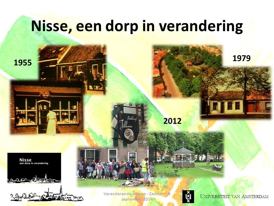U NIVERSITEIT VAN A MSTERDAM Nisse, een dorp in verandering Veranderende dorpen - Zeddam - 6 september 2014 1955 1979 2012