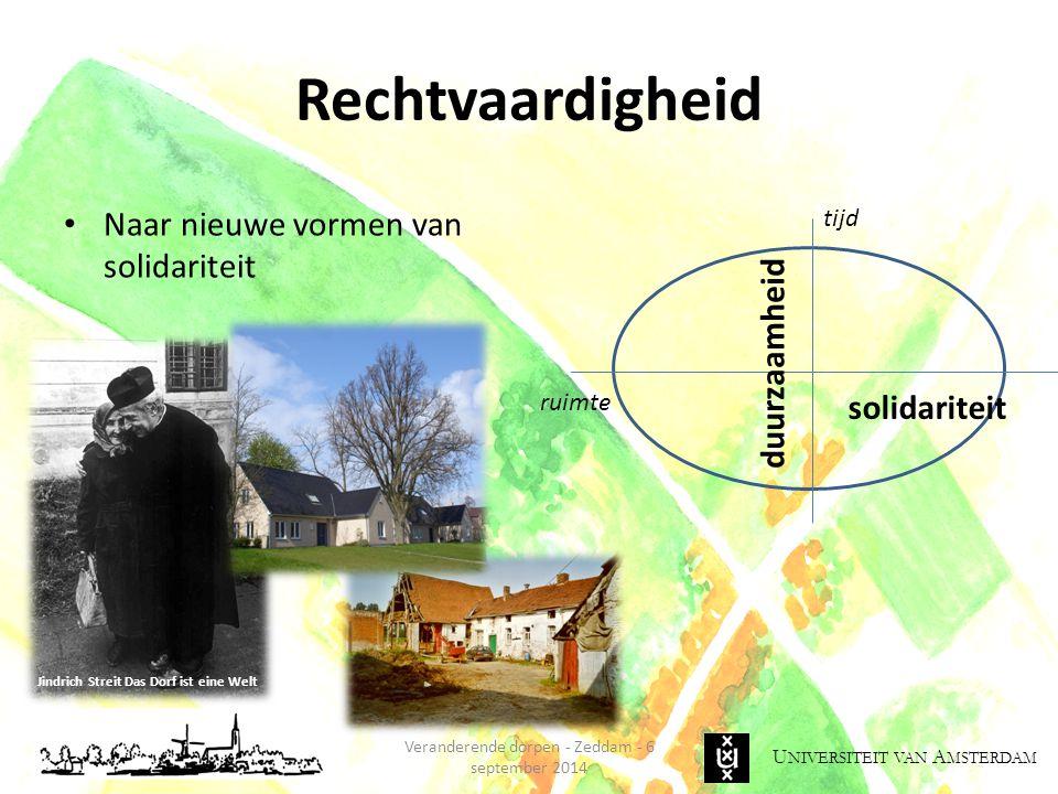 U NIVERSITEIT VAN A MSTERDAM Rechtvaardigheid Naar nieuwe vormen van solidariteit Veranderende dorpen - Zeddam - 6 september 2014 Jindrich Streit Das