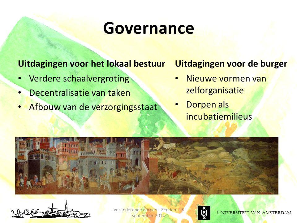 U NIVERSITEIT VAN A MSTERDAM Governance Uitdagingen voor het lokaal bestuur Verdere schaalvergroting Decentralisatie van taken Afbouw van de verzorgin