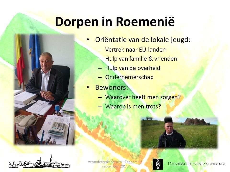 U NIVERSITEIT VAN A MSTERDAM Veranderende dorpen - Zeddam - 6 september 2014