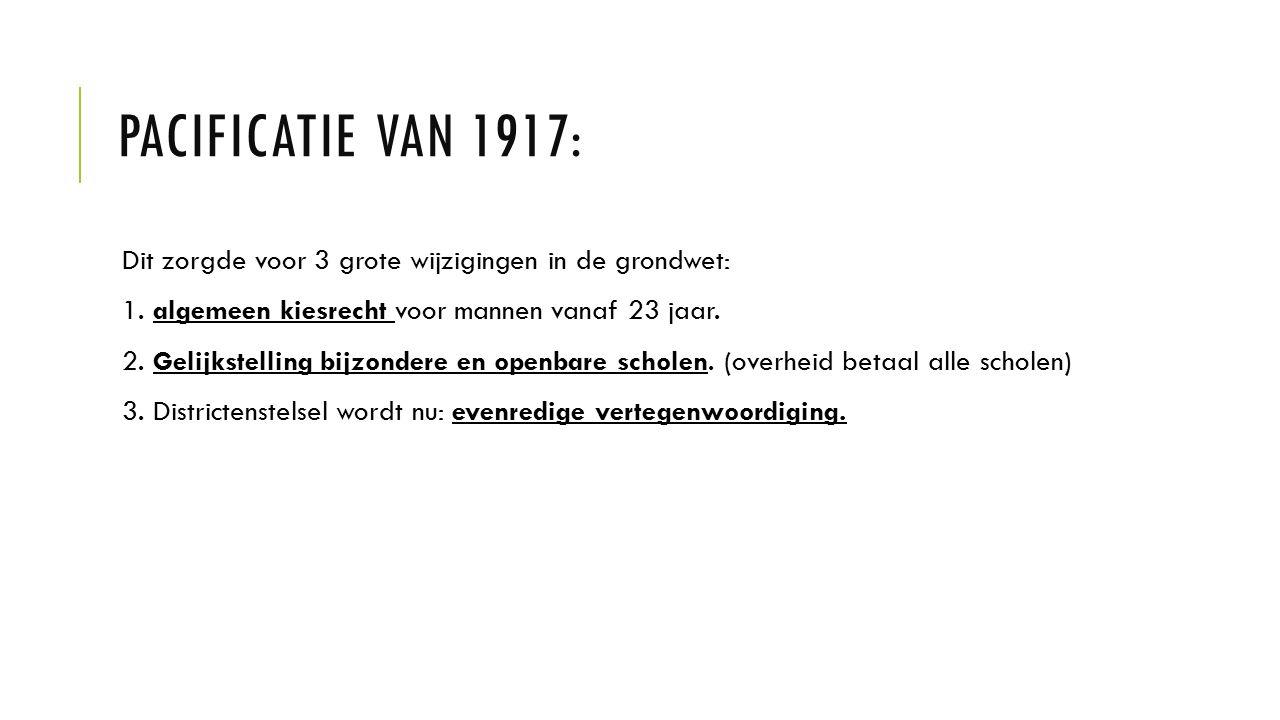 PACIFICATIE VAN 1917: Dit zorgde voor 3 grote wijzigingen in de grondwet: 1. algemeen kiesrecht voor mannen vanaf 23 jaar. 2. Gelijkstelling bijzonder