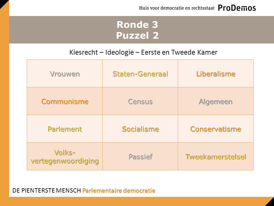 Ronde 3 Puzzel 2 VrouwenStaten-GeneraalLiberalisme CommunismeCensusAlgemeen ParlementSocialismeConservatisme Volks- vertegenwoordiging PassiefTweekame