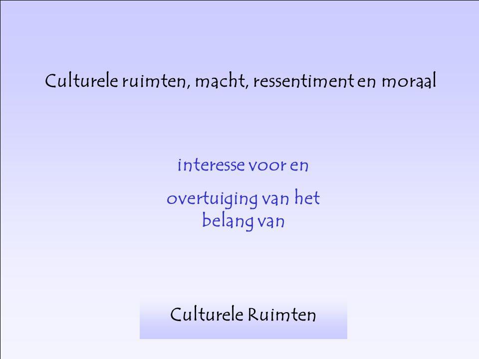 interesse voor en overtuiging van het belang van Culturele Ruimten Culturele ruimten, macht, ressentiment en moraal