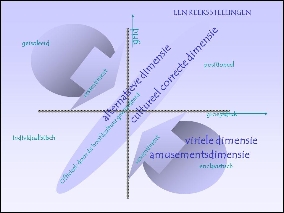 EEN REEKS STELLINGEN positioneel individualistisch enclavistisch geïsoleerd Officieel: door de hoofdcultuur gewaardeerd ressentiment groepsdruk grid viriele dimensie amusementsdimensie cultureel correcte dimensie alternatieve dimensie