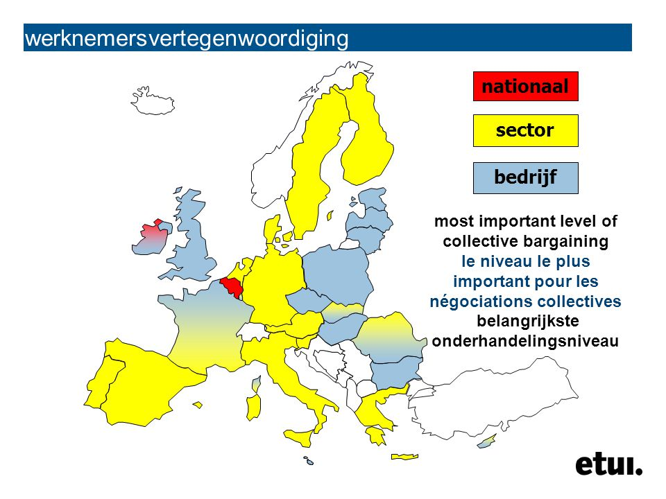 werknemersvertegenwoordiging nationaal sector bedrijf most important level of collective bargaining le niveau le plus important pour les négociations collectives belangrijkste onderhandelingsniveau
