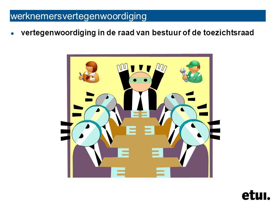 ● vertegenwoordiging in de raad van bestuur of de toezichtsraad