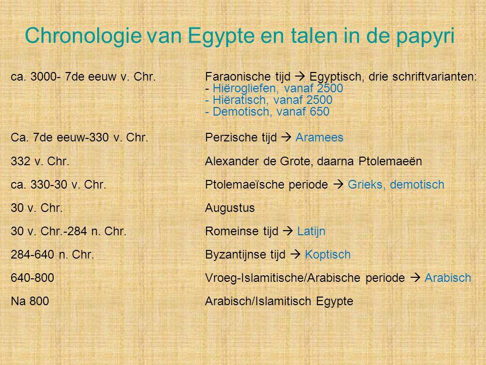 Chronologie van Egypte en talen in de papyri ca. 3000- 7de eeuw v. Chr.Faraonische tijd  Egyptisch, drie schriftvarianten: - Hiërogliefen, vanaf 2500