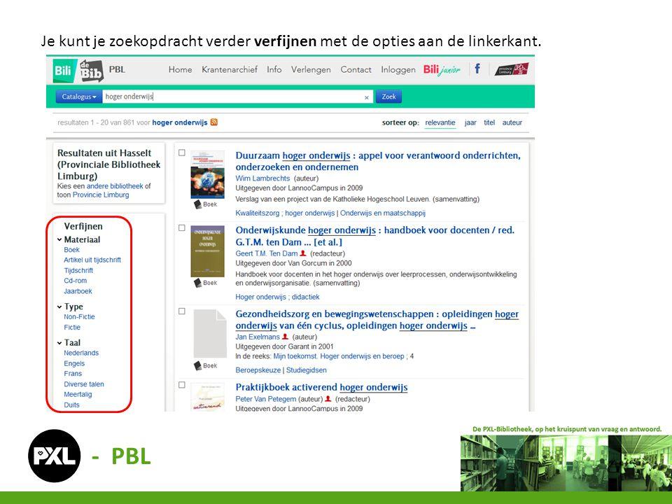 Je kunt je zoekopdracht verder verfijnen met de opties aan de linkerkant. - PBL