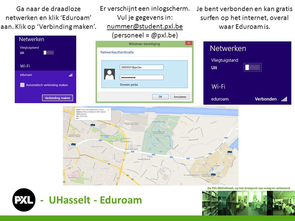 Ga naar de draadloze netwerken en klik 'Eduroam' aan. Klik op 'Verbinding maken'. - UHasselt - Eduroam Er verschijnt een inlogscherm. Vul je gegevens