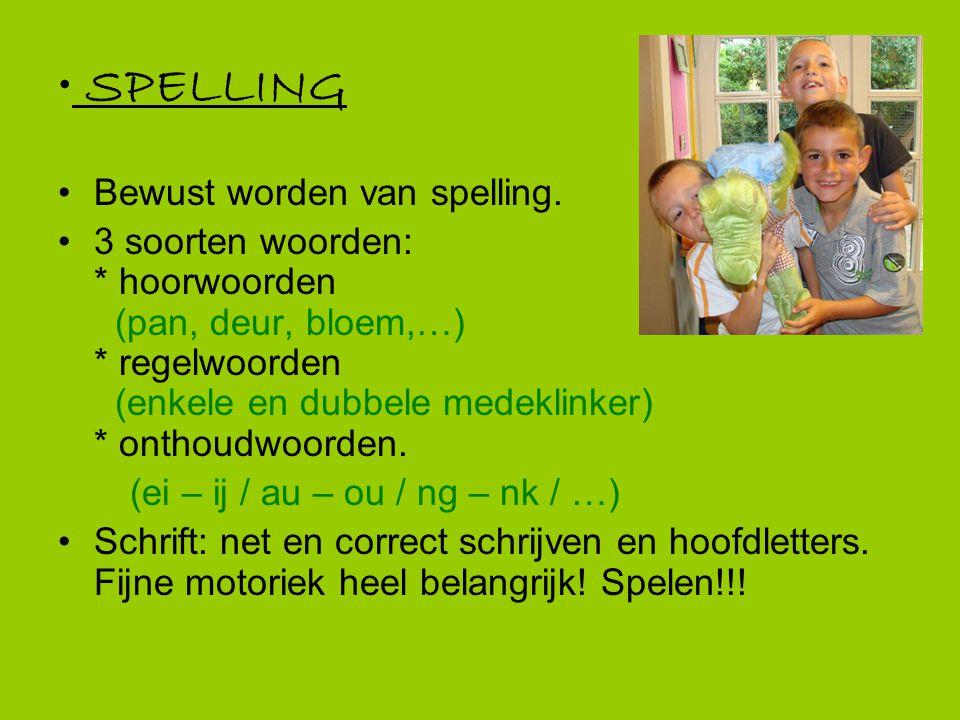 SPELLING Bewust worden van spelling. 3 soorten woorden: * hoorwoorden (pan, deur, bloem,…) * regelwoorden (enkele en dubbele medeklinker) * onthoudwoo