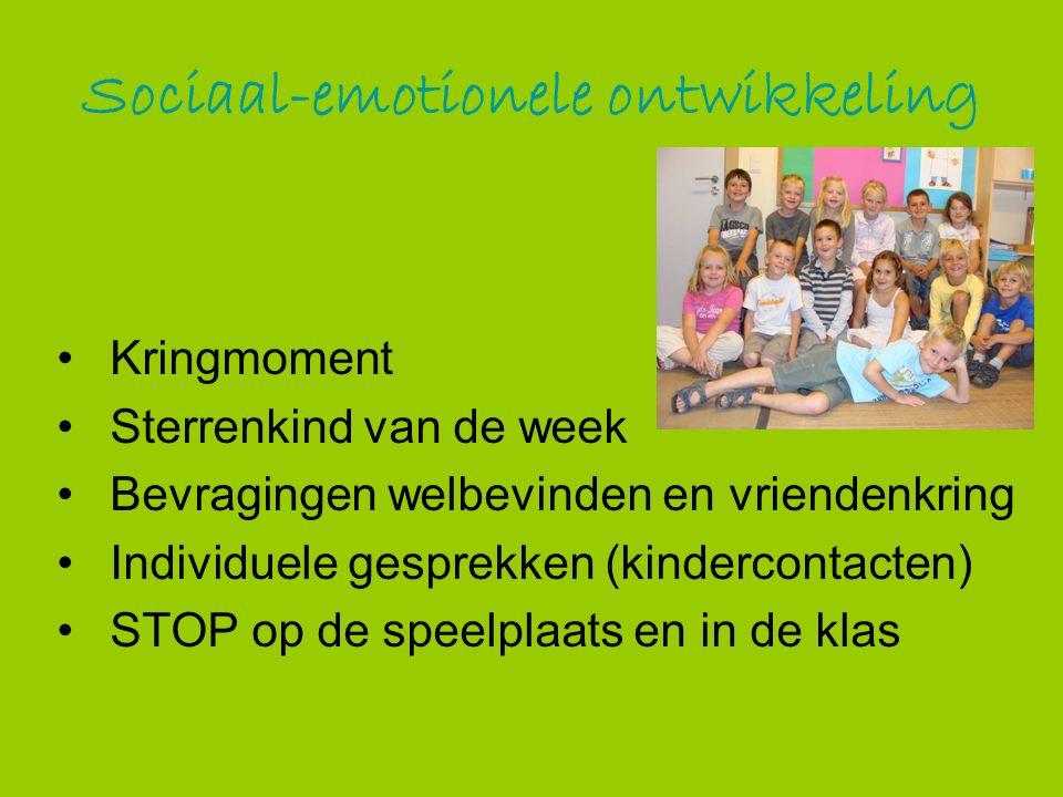 Sociaal-emotionele ontwikkeling Kringmoment Sterrenkind van de week Bevragingen welbevinden en vriendenkring Individuele gesprekken (kindercontacten)