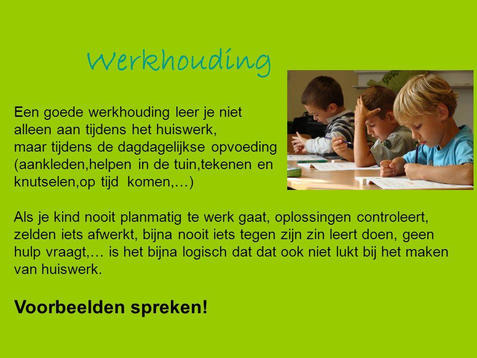 Werkhouding Een goede werkhouding leer je niet alleen aan tijdens het huiswerk, maar tijdens de dagdagelijkse opvoeding (aankleden,helpen in de tuin,t