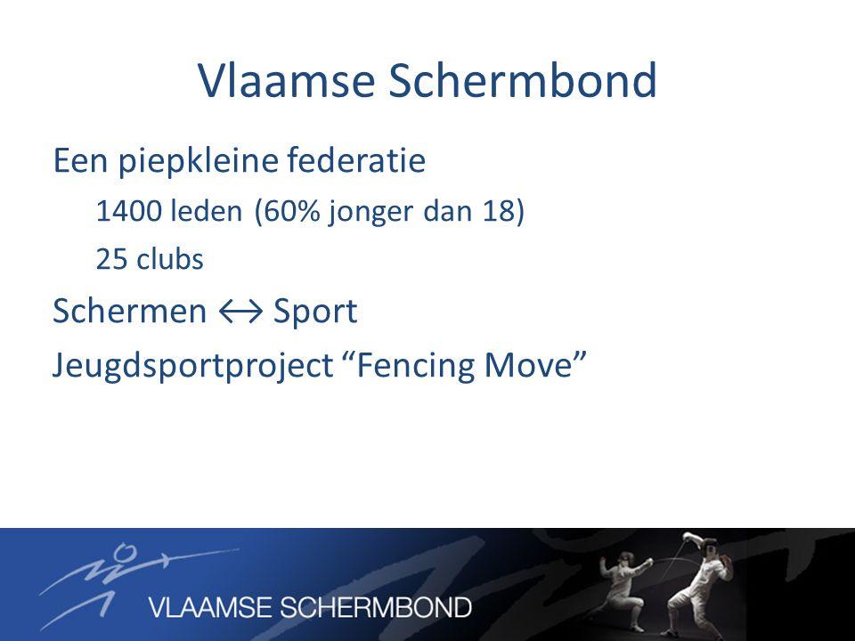 Vlaamse Schermbond Een piepkleine federatie 1400 leden (60% jonger dan 18) 25 clubs Schermen ↔ Sport Jeugdsportproject Fencing Move