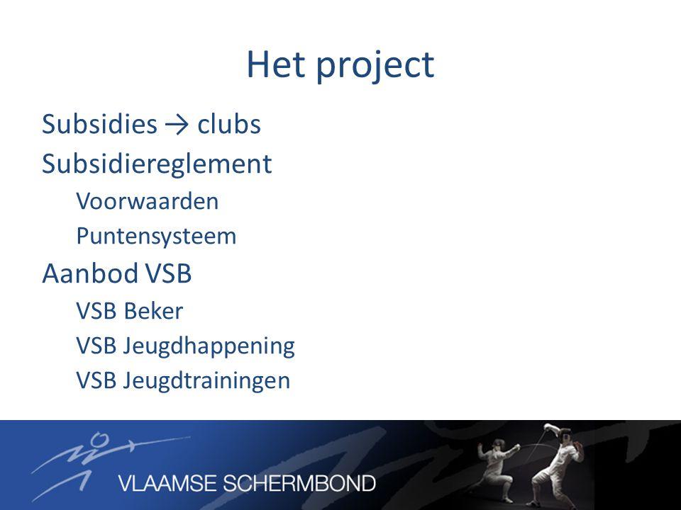 Het project Subsidies → clubs Subsidiereglement Voorwaarden Puntensysteem Aanbod VSB VSB Beker VSB Jeugdhappening VSB Jeugdtrainingen