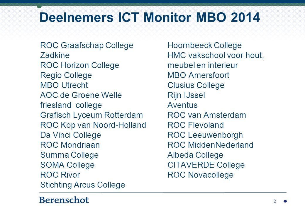 28 MBO-instellingen, waarvan 3 AOC en 3 Vakschool 38 unieke waarnemingen (14 herhalende deelnemers) Categorisering naar aantal deelnemers 3 Deelnemers ICT Monitor MBO 2014 2014: gemiddeld 779 FTE en 10.092 leerlingen 2013: gemiddeld 869 FTE en 11.113 leerlingen categorieUniek20132014Totaal# studenten Klein14612180 tot 7.000 Middelgroot974117.001 tot 10.000 Groot8751210.001 tot 15.000 Zeer groot7471115.001 tot 40.000 Totaal38242852