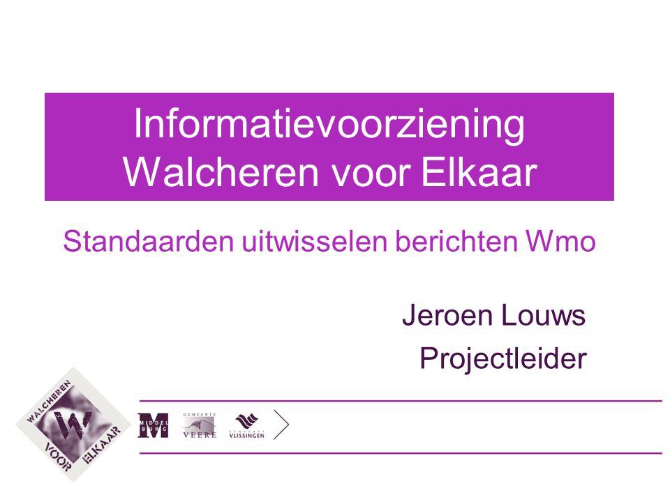 Informatievoorziening Walcheren voor Elkaar Standaarden uitwisselen berichten Wmo Jeroen Louws Projectleider
