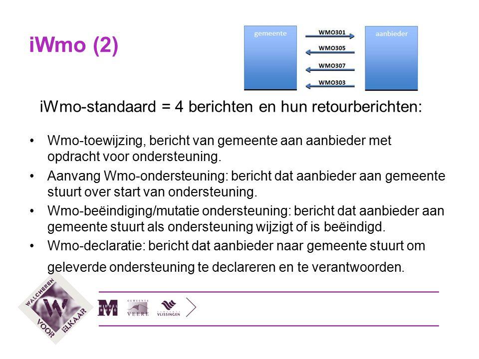 iWmo (2) iWmo-standaard = 4 berichten en hun retourberichten: Wmo-toewijzing, bericht van gemeente aan aanbieder met opdracht voor ondersteuning. Aanv
