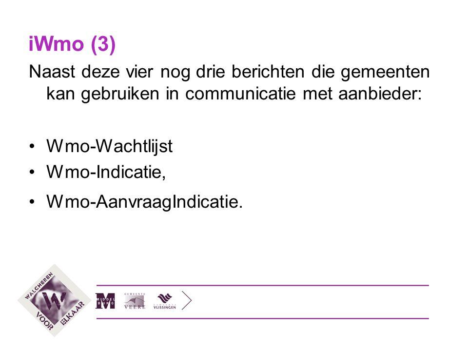 iWmo (3) Naast deze vier nog drie berichten die gemeenten kan gebruiken in communicatie met aanbieder: Wmo-Wachtlijst Wmo-Indicatie, Wmo-AanvraagIndic