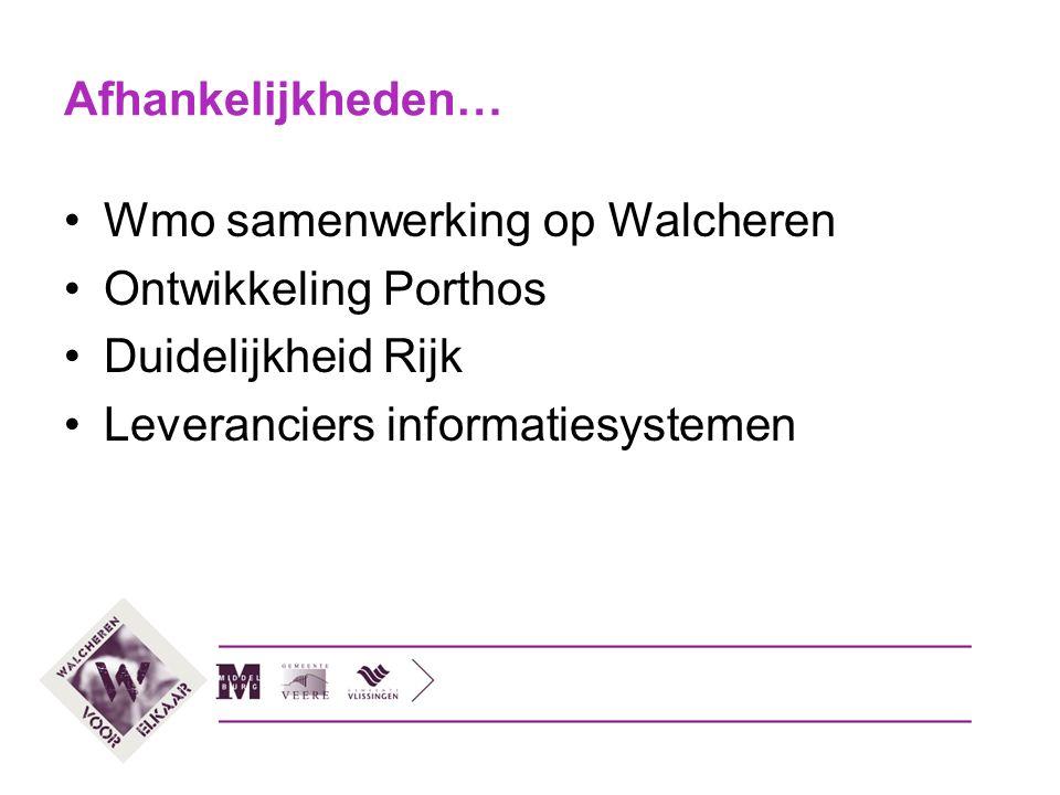 Samenwerking Wmo Walcheren Nu: drie gemeenten met eigen Wmo Nu: drie werkwijzen, drie leveranciers ICT systemen Straks: één Walcherse Wmo.