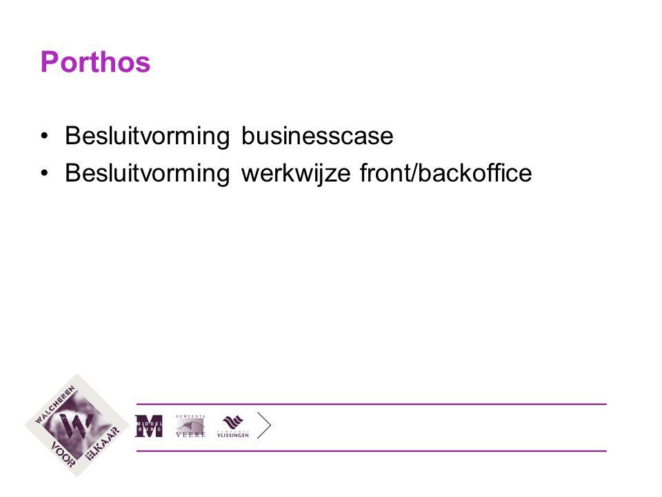 Porthos Besluitvorming businesscase Besluitvorming werkwijze front/backoffice