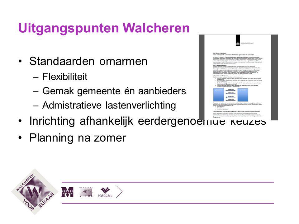 Uitgangspunten Walcheren Standaarden omarmen –Flexibiliteit –Gemak gemeente én aanbieders –Admistratieve lastenverlichting Inrichting afhankelijk eerd