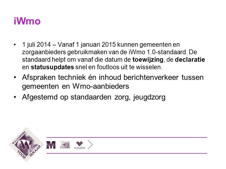 iWmo 1 juli 2014 – Vanaf 1 januari 2015 kunnen gemeenten en zorgaanbieders gebruikmaken van de iWmo 1.0-standaard. De standaard helpt om vanaf die dat