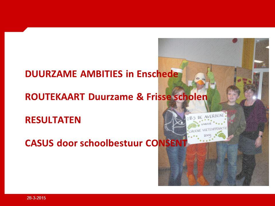 28-3-2015 DUURZAME AMBITIES in Enschede ROUTEKAART Duurzame & Frisse scholen RESULTATEN CASUS door schoolbestuur CONSENT