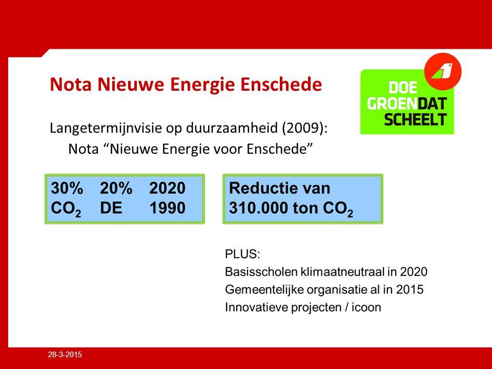 28-3-2015 Nota Nieuwe Energie Enschede Langetermijnvisie op duurzaamheid (2009): Nota Nieuwe Energie voor Enschede
