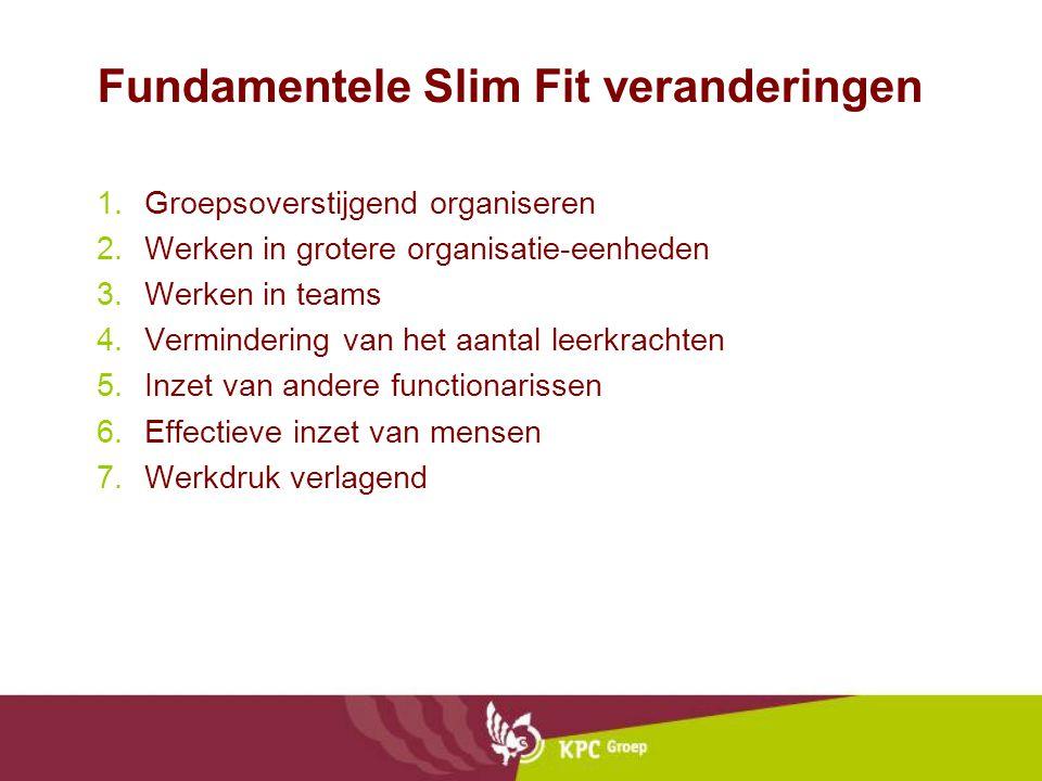 Fundamentele Slim Fit veranderingen 1.Groepsoverstijgend organiseren 2.Werken in grotere organisatie-eenheden 3.Werken in teams 4.Vermindering van het aantal leerkrachten 5.Inzet van andere functionarissen 6.Effectieve inzet van mensen 7.Werkdruk verlagend