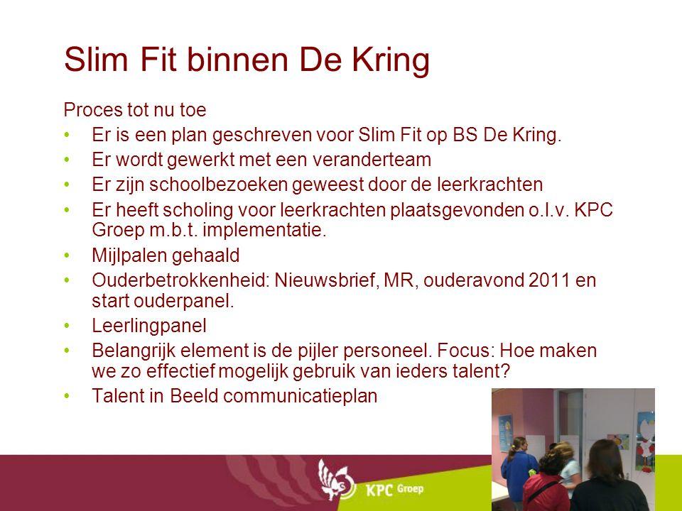 Slim Fit binnen De Kring Proces tot nu toe Er is een plan geschreven voor Slim Fit op BS De Kring.